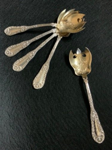"Dominick & Haff 스털링 설비 ""Number 10"" 페턴 아이스크림 포크 W/골드워시 Dominick & Haff Sterling Silver ""Number 10"" Pattern Ice Cream Fork w/ Gold Wash circa 1896"