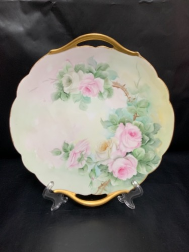 Tressemanes and Vogt 리모지 핸드페인트 투핸들 케이크/페스트리 플레이트 Tressemanes and Vogt Limoges Hand Painted 2 Handle Cake / Pastry Plate circa 1900