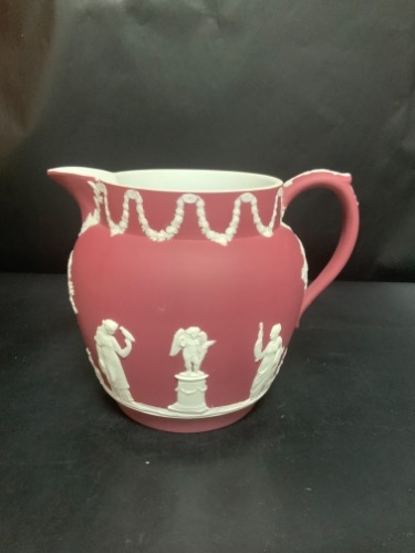 웨지우드 크림슨 레드 진한 버터 저그 Wedgwood Crimson Red Dip Batter Jug circa 1880 - RARE Color!!!