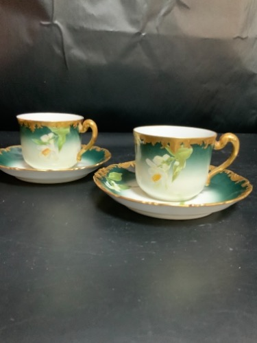 Tressmane & Vogt 공장 데코 핸드페인트 컵&소서 Tressmane & Vogt Factory Decorated Hand Painted Cup & Saucer circa 1892-1902